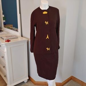 VTG Womens S/M Neiman Marcus sweater dress brown